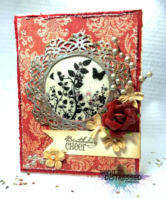 vintage handmade card with shaker elements