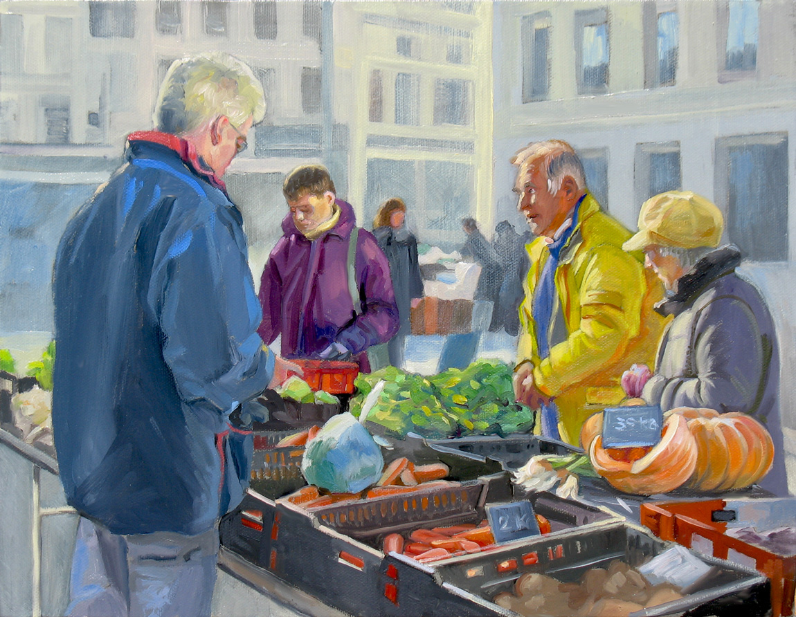 The making of farmers market a small oil painting for Small paintings that sell