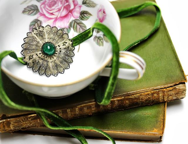 antique filigree flower and ribbon headband