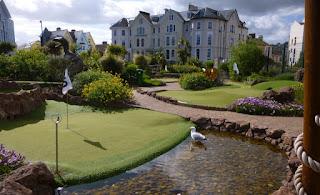 Dinosaur Adventure Golf course at The Den on Teignmouth Sea Front in Devon
