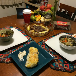 Thanksgiving table with Vegetable Soup and Cod
