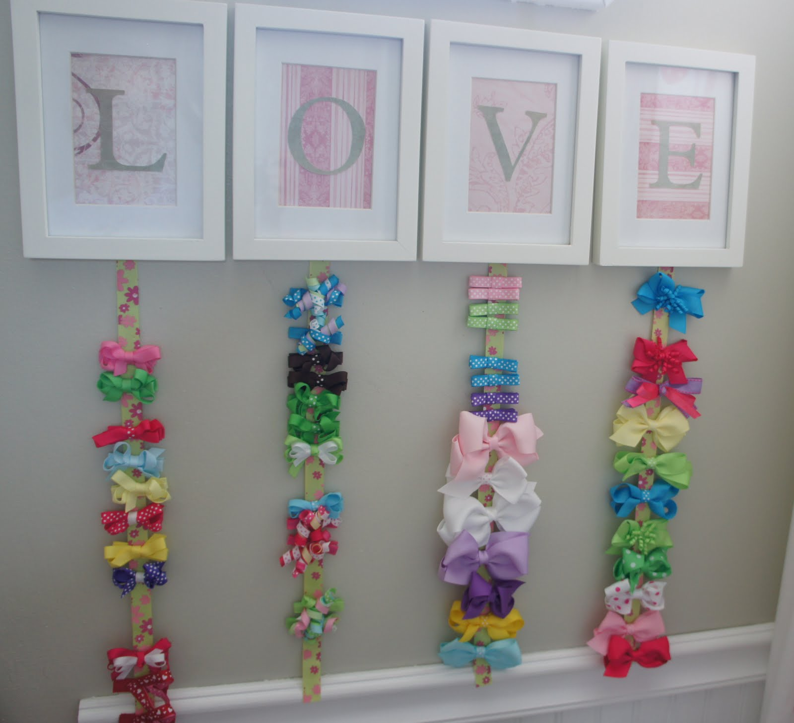 How to organize hair bows - I Made This For Her And I Just Love It Because It Is Easy To Organize And Find Her Bows