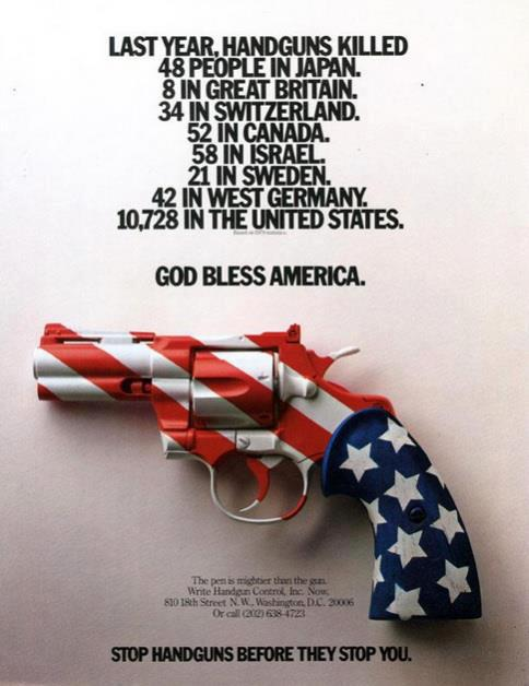 Ad photograph effectively describes fatal shootings across the globe