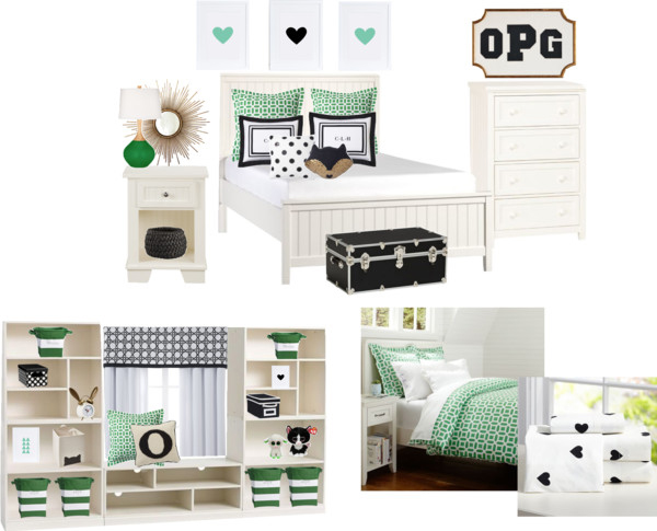 Pottery Barn Teen Bedroom Green and Black