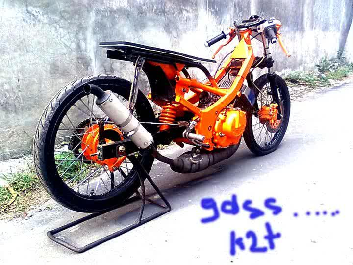 Modifikasi motor Drag ne contoh model motor Satria FU buat drag title=
