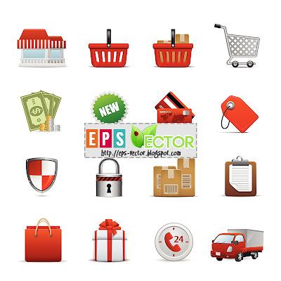 [Vector] - Shopping icon set