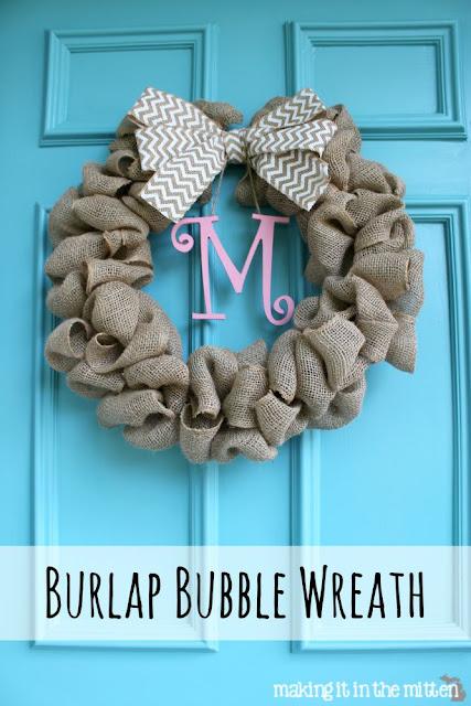 Making It In The Mitten Burlap Bubble Wreath