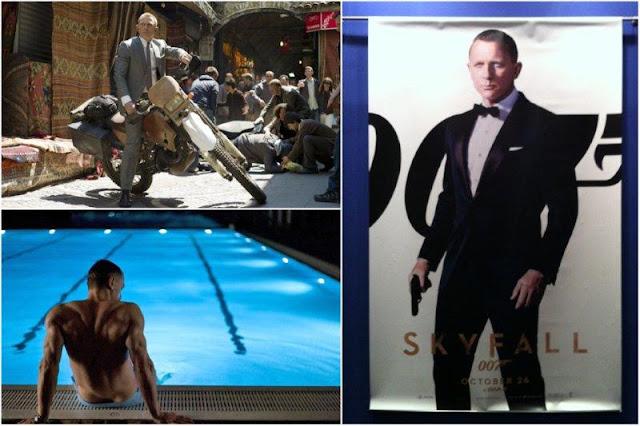 Skyfall: James Bond 007 en Estambul, James Bond en la piscina en el Virgin Active Canary Riverside Club en Londres, Shanghai en la pelicula - Cartel promocionando la película Skyfall en el cine