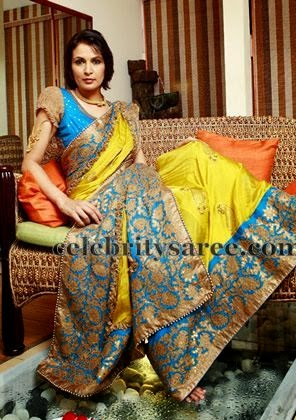 Mustard Bridal Sari with Floral Border