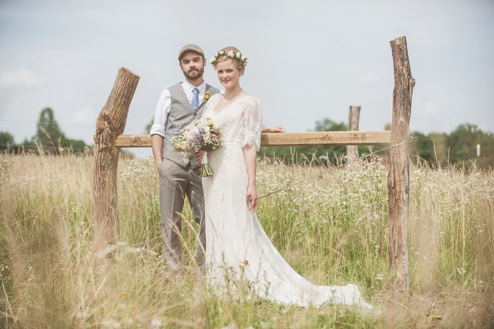 Vintage Bride and Groom in field