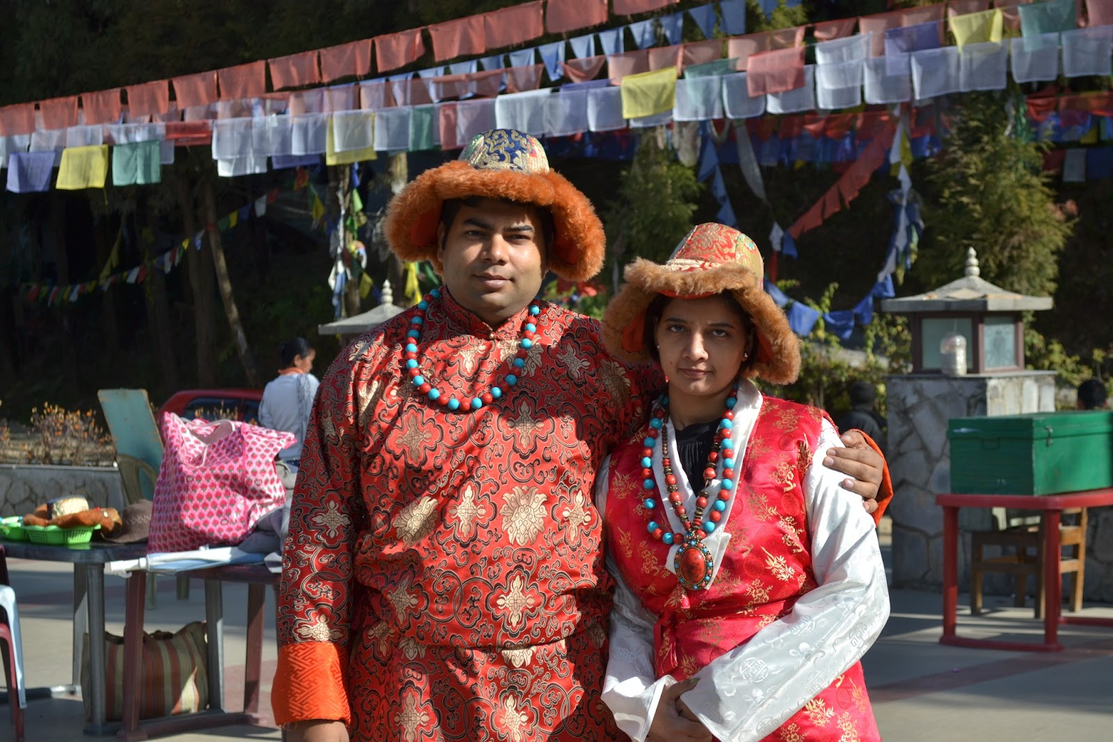 My wife and me in traditional dress of sikkim