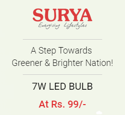 Buy Surya ECO 7W LED Bulb at Online Lowest Best Price Offer Rs. 99 : BuyToEarn