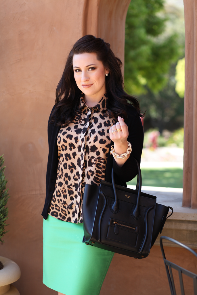 le-tote-leopard-blouse-celine-bag-mrs-robinson-mint-green-jcrew-skirt-king-and-kind-blog-black-cardigan-ann-taylor