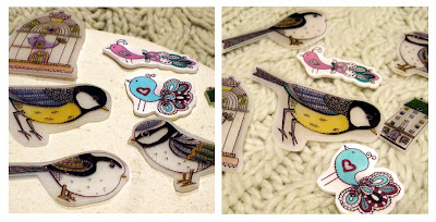 Shrink plastic badges of birds