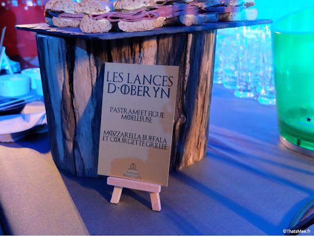 les lances d'Oberyn buffet catering expo Games of thrones Paris carrousel Louvre