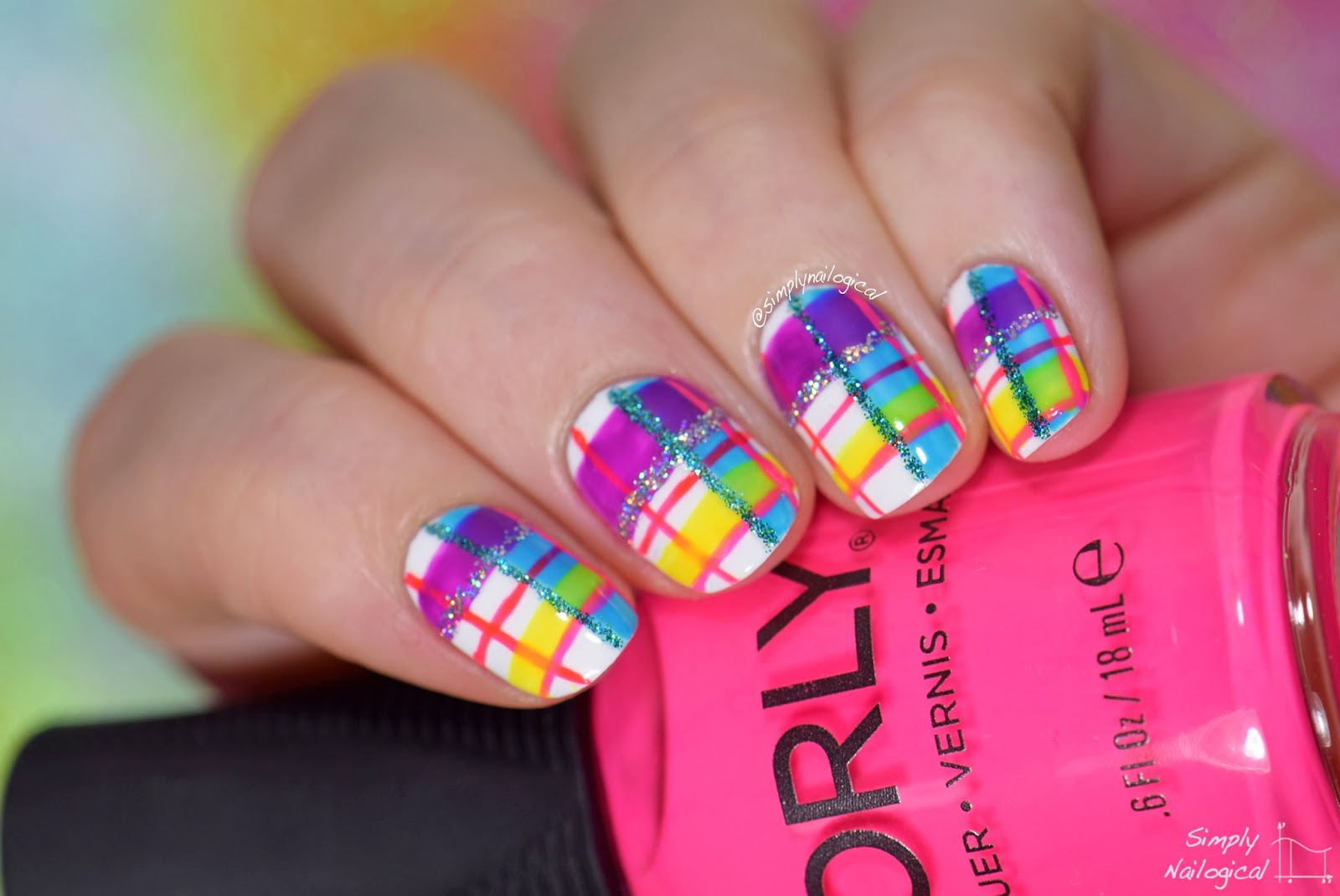 Simply Nailogical Neon Plaid Re Creation Mani