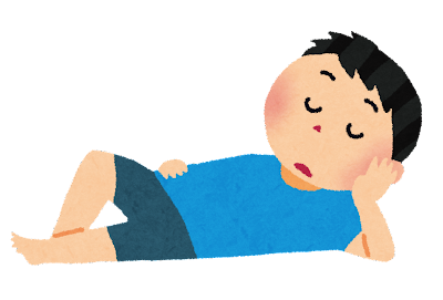 ぐーたら寝ている男性のイラスト