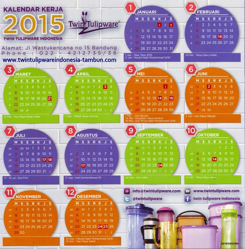 Kalender Kerja Twin Tulipware 2015, Kalender 2015
