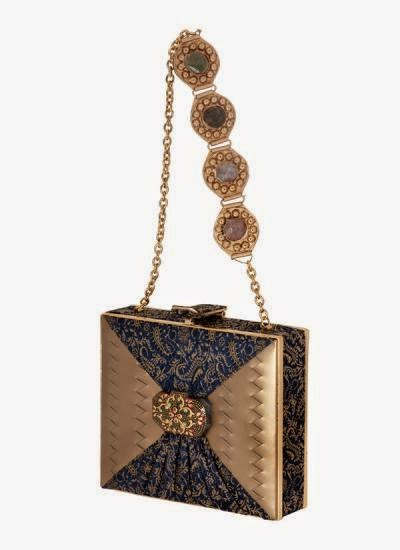 Stylish blue and Golden clutch | Indian Designers | Indian Designer Bag