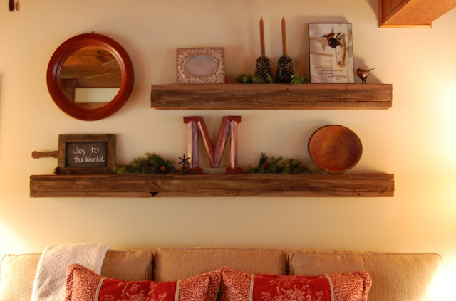 Rustic Barnwood Floating Shelves