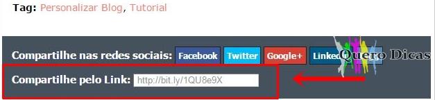 Link encurtado automaticamente no final dos posts