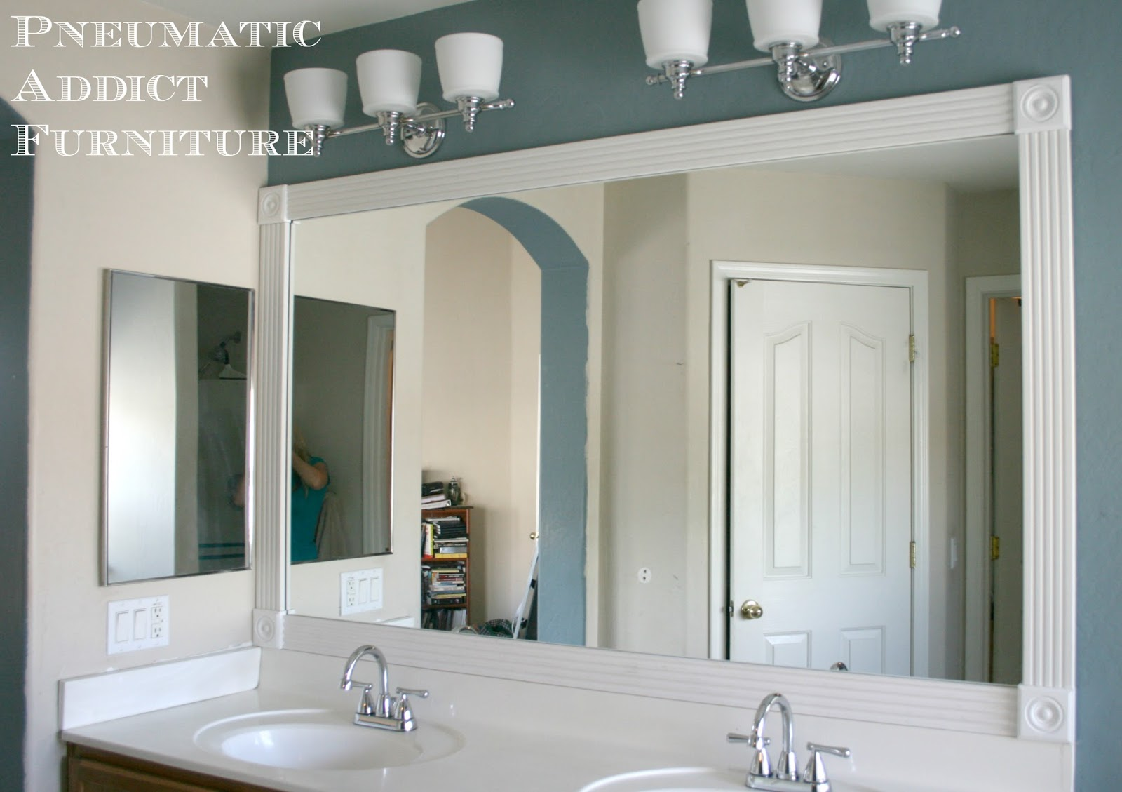 Pneumatic addict tip for adding trim to a wall mirror - Frame bathroom mirror with moulding ...