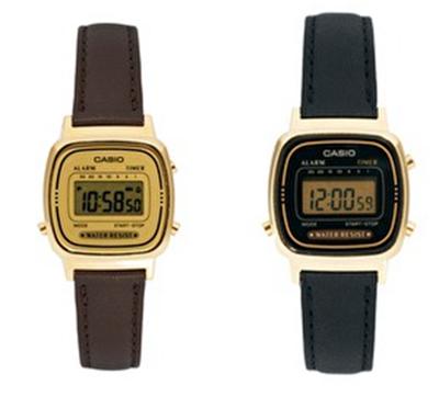 relojes casio vintage esfera digital y correa de cuero
