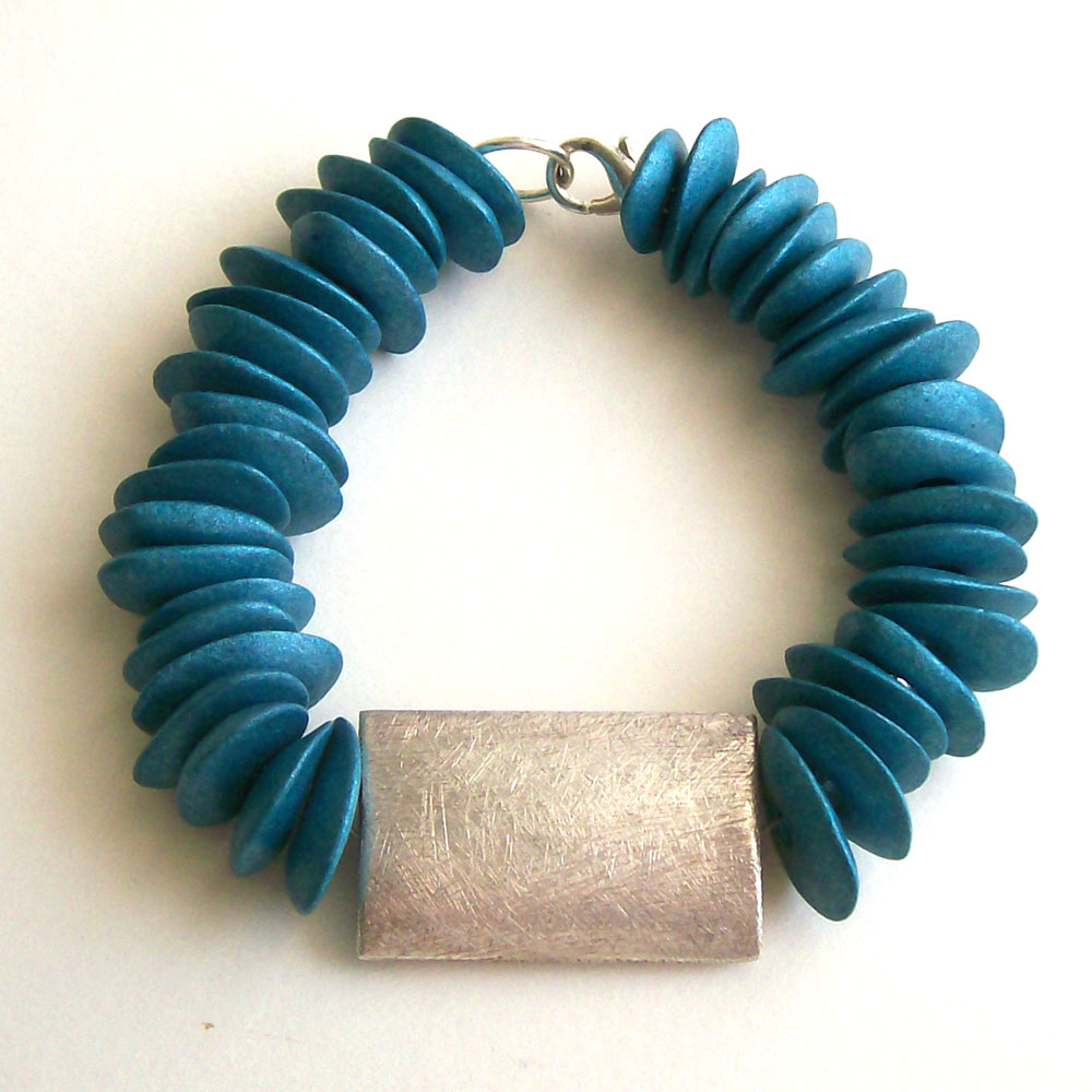 Ceramic Bead Beads: O And N Craft Supplies: Bracelet With Pebble Shaped Blue