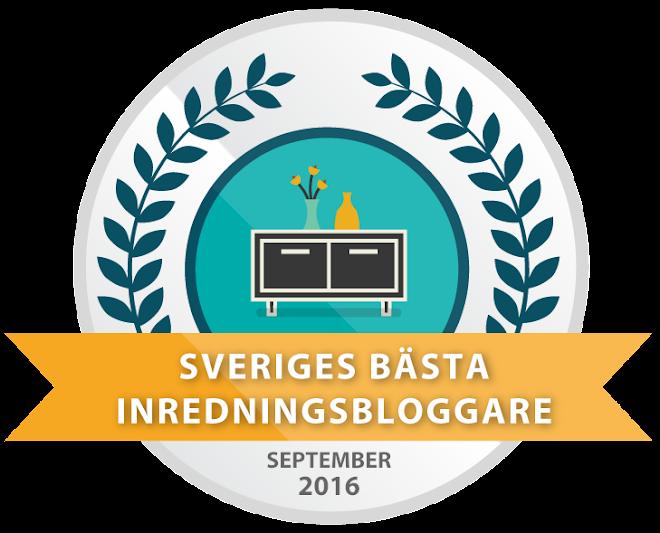 Jag nominerades till Sveriges bästa inredningsbloggare 2016.