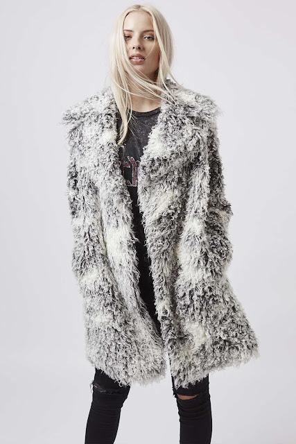 grey fur coat, shaggy fur coat,