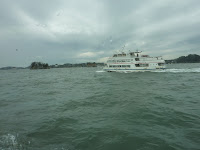 Photo of another passing sightseeing boat in matsushima bay