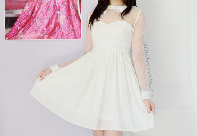 A cute white ulzzang-style sheer-paneled dress, with a sweetheart neckline, long sleeves, and pearl-embellished collar.