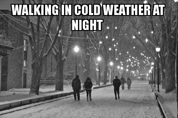 people walking in cold night