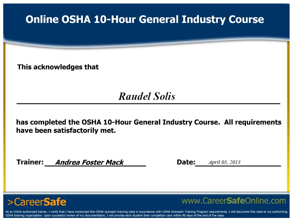 careersafecampus Career Safe Online review | Raudel Solis CG