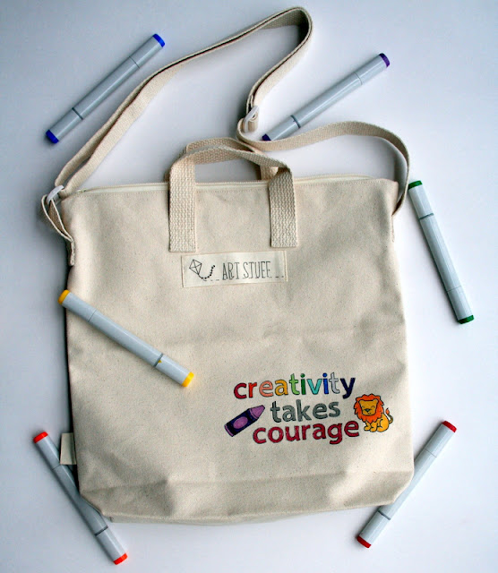Custom Tote Bag by Jess Gerstner featuring Lawn Fawn Quinn's ABCs Critters on the Savanna and You Color My World