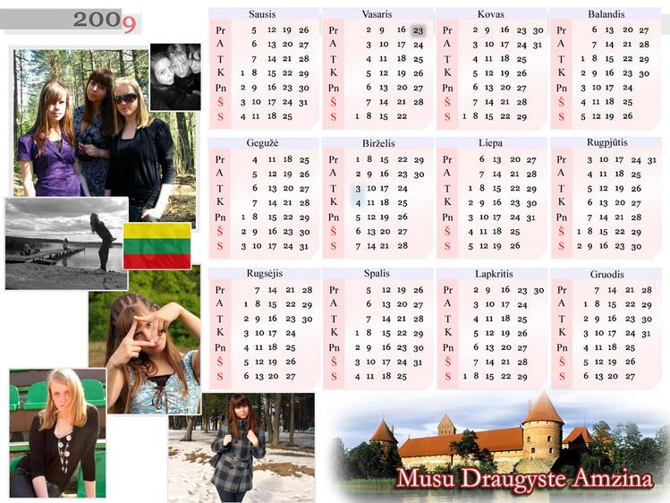 Литовский календарь на литовском