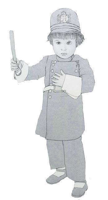 niño. uniforme, urbano, dibujo