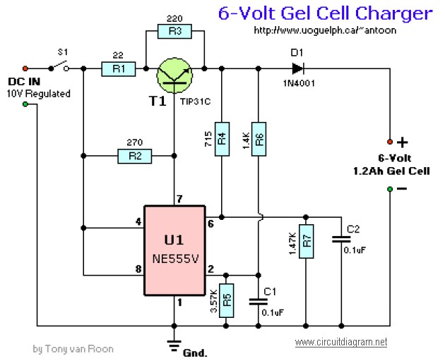 6volt Gel Cell Charger Simple Electronic Circuit Diagram