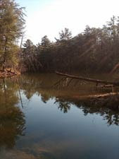 The wreckage of an old tornado left behind this lake