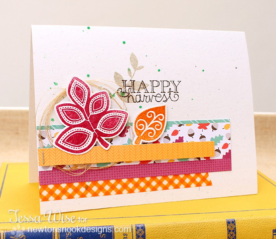 Bright Bold Leaf card by Tess Wise for Newton's Nook Designs | Falling into Autumn Stamp Set