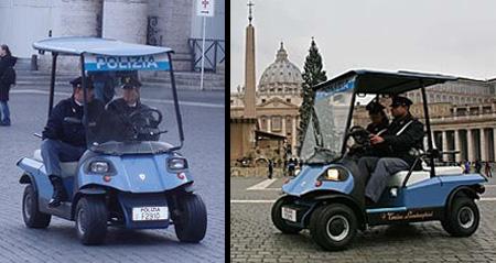 Kendaraan mirip Golf Cart ini bertenaga listrik, bisa ditemukan di Vatikan.