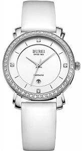 BUREI Women's Date Calfskin Leather Quartz Diamond Watch Mother of pearl (White)