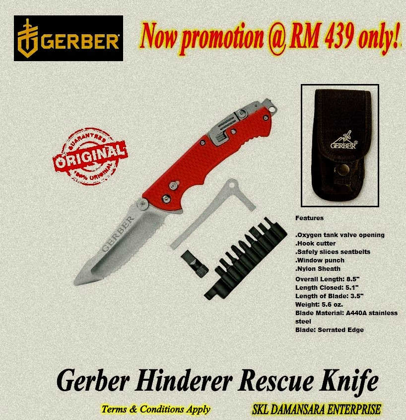 Gerber Hinderer Rescue Knife, Serrated Edge now at RM 439 only!!!