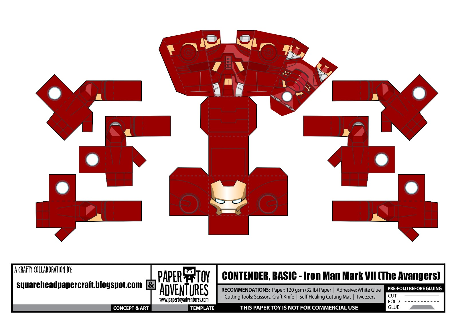 Square Head Papercraft Iron Man Mark Vii The Avengers