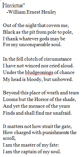 invictus poem essays Read an analysis of this famous writing by william ernest henley  invictus  was written by the english poet william ernest henley the poem.