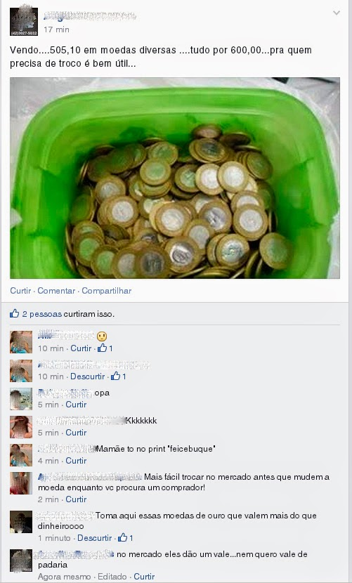 Mercadão ou Padaria? Não tente vender moedas no Facebook