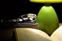 book and bedside table