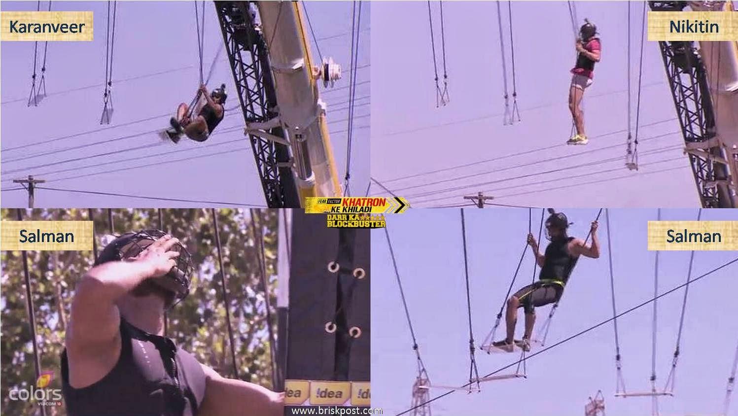 Contestants Karanveer, Nikitin and Salman during Swing stunt on height in Fear Factor Khatron Ke Khiladi 5
