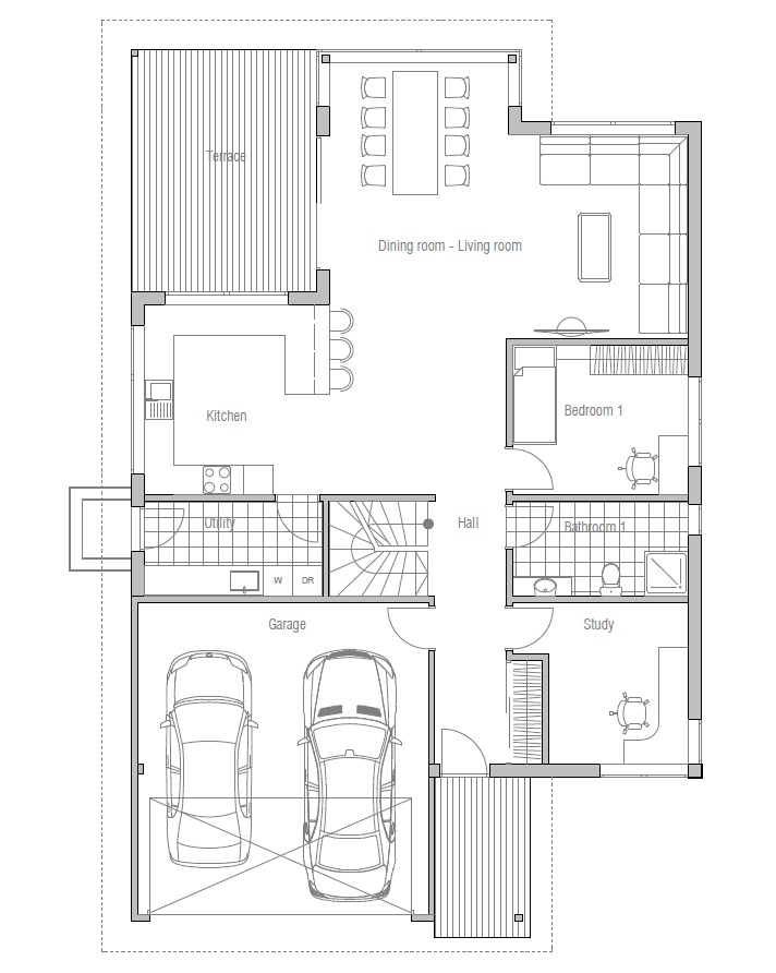 Contemporary House Plans: Modern House Plan to Narrow Lot
