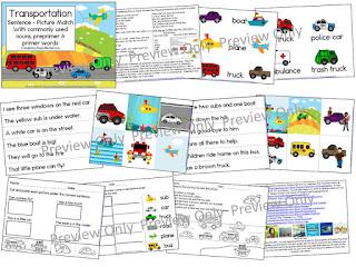https://www.teacherspayteachers.com/Product/Transportation-Sentence-Picture-Match-1591200